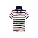Mens Simple Polo Shirt Striped Printed Button Detail Fitted Short Sleeve Turn down Collar Polo Shirt