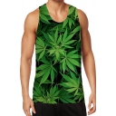 Stylish Mens Tank Top 3D Leaf Pattern Slim Fitted Round Neck Sleeveless Tank Top