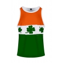 Basic Mens Tank Top 3D Contrasted Clover Hat Cat Pattern Sleeveless Round Neck Slim Fitted Tank Top