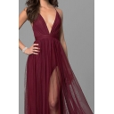 Elegant Womens Spaghetti Straps Deep V-neck Criss Cross Back Maxi Pleated Flowy Cami Dress in Burgundy