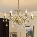 Gold Finish Candle Chandelier Traditional Metallic 6 Lights Living Room Hanging Lamp with Crystal Drop