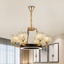 Circle Bedroom Ceiling Suspension Lamp Modern Tri-Sided Crystal Rod 6 Lights Black-Gold Chandelier
