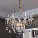 Candelabrum Dining Room Ceiling Pendant Antique Crystal 6-Head Clear Chandelier Lamp