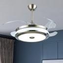 Silver Finish Round Semi Flush Light Modernism 42