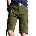 Fashion Shorts Plain Zip-fly Drawstring Button Flap Pocket Knee Length Straight Fit Cargo Shorts for Men