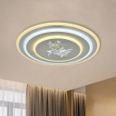 3-Layer Round/Square LED Flushmount Contemporary White Acrylic Ceiling Lamp with Crystal Flower Decor