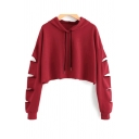 Hip Hop Girls Solid Color Ripped Long Sleeve Drawstring Loose Fit Cropped Hoodie