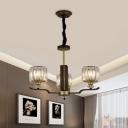 Black and Gold 3/6-Light Chandelier Modern Prismatic Crystal Short Cylinder Pendant Lighting Fixture
