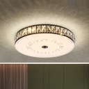 Round/Square Beveled Crystal Flush Light Simplicity Bedroom LED Close to Ceiling Lamp in Black-White
