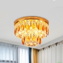 Gold Finish 2-Tier Round Flush Lighting Traditional Tan and Clear Crystal 6-Head Bedroom Flushmount
