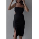Trendy Womens Spaghetti Straps Bow Tied Cut out Back Slit Side Midi Sheath Cami Dress in Black