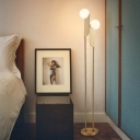 2-Bulb Bedside LED Floor Standing Light Postmodern Gold Finish Tree Floor Lamp with Orb Cream Glass Shade