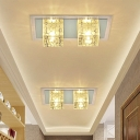 LED Hallway Ceiling Flush Modernism Nickel Flush Mounted Light with Cuboid Clear Crystal Shade