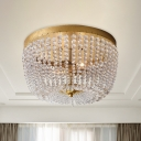 Post Modern Dome Ceiling Mounted Light Crystal Strand 3-Head Bedroom Flush Lamp Fixture in Gold
