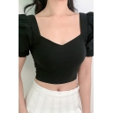 Pretty Girls Solid Color Puff Sleeve Sweetheart Neck Slim Fitted Cropped Tee Top