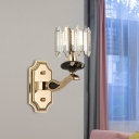 Traditional Cylinder Wall Lighting Single Bulb Crystal Prism Wall Mounted Lamp in Gold