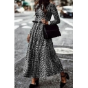 Fashionable Womens Leopard Printed Long Sleeve Crew Neck Belted Maxi A-line T Shirt Dress