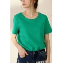 Trendy Womens Green Short Sleeve Round Neck Loose T Shirt