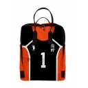Trendy Womens Number Footprint Graphic Contrasted Large Capacity Backpack in Orange