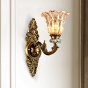 1/2-Head Clear Glass Wall Light Traditional Brass Blossom Living Room Wall Mounted Lamp