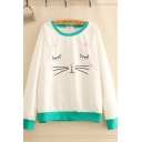 Fashion Girls Cartoon Cat Embroidered Long Sleeve Contrasted Round Neck Relaxed Pullover Sweatshirt