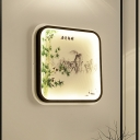 Leaf/Flower Wall Mural Lighting Chinese Fabric Bedroom LED Sconce Lamp with Square Frame in Black
