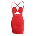 Sexy Womens Solid Color Halter Crisscross Cut out Open Back Mini Tight Cami Dress