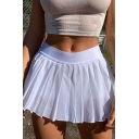 Sportswear Girls High Rise Solid Color Mini Pleated A-line Tennis Skirt in White