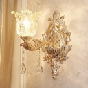 Semi-Open Flower Clear Glass Sconce Traditional Single Sitting Room Wall Mounted Lighting in Gold