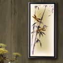 Bamboo and Dragonfly Fabric Mural Lamp Asia LED Black Wall Mount Lighting for Bedroom