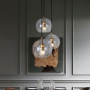 Double Layer Clear Globe Glass Pendant Minimalistic 1 Bulb Gold Hanging Ceiling Light, 6
