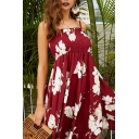 Pretty Womens Allover Flower Printed Spaghetti Straps Pintuck Stringy Selvedge Asymmetric Hem Mid Pleated A-line Cami Dress in Red