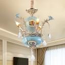 Pot Shaped Foyer Pendant Lamp Vintage Ceramic 3 Lights Blue Chandelier Lighting with Exposed Bulb Design