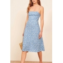 Pretty Womens Ditsy Floral Printed Spaghetti Straps Mid A-line Cami Dress in Light Blue