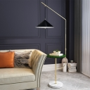 Dangling Cone Shade Iron Floor Lamp Postmodern 1 Bulb Black Standing Light with Table and Extendable Arm