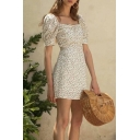 Fashion Womens Ditsy Floral Pattern Puff Sleeve Sweetheart Neck Drawstring Short A-line Dress