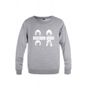 Cool Boys Letter Escape Plan Cartoon Graphic Long Sleeve Round Neck Loose Fitted Pullover Sweatshirt