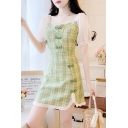 Fashionable Girls Tartan Pattern Frog Button Lace Trimmed Puff Sleeve Square Neck Slit Mini A-line Dress