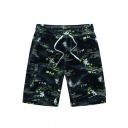 Mens Cool Number Tree Printed Drawstring Knee Length Regular Fit Shorts with Pockets