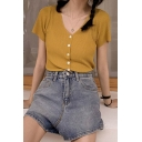Pretty Ladies Solid Color Short Sleeve V-neck Button up Slim Fit Knit Top