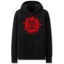 Popular Mens Virus Letter Give Corona No Chance Printed Pocket Drawstring Long Sleeve Regular Fit Graphic Hooded Sweatshirt