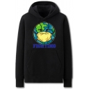 Trendy Mens Earth Mask Pattern Letter Fighting Pocket Drawstring Long Sleeve Regular Fit Graphic Hooded Sweatshirt