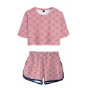 All over Geometric Print Short Sleeve Crew Neck Relaxed Crop T Shirt & Contrast Piped Shorts Cosplay Set