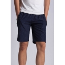 Stylish Patterned Pocket Zipper Drawstring Knee Length Straight Fitted Shorts for Men