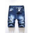 Mens Leisure Blue Reworked Zip-fly Pockets Ripped Longline Fitted Denim Shorts with Washing Effect