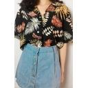 Summer Leaf Allover Pattern Short Sleeve Lapel Neck Button up Loose Shirt Top for Girls