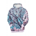 Leisure Mens Tree 3D Pattern Sherpa Lined Long Sleeve Drawstring Pouch Pocket Loose Hoodie in Blue