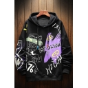 Unique Mens Cartoon Character Letter Hzyipa Mpozidhy Printed Drawstring Long Sleeve Regular Fitted Graphic Hooded Sweatshirt
