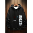 Trendy Mens Letter Rests Dielectric the Constant Printed Pocket Drawstring Long Sleeve Regular Fitted Hoodie