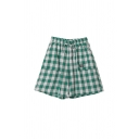 Chic Girls Letter New Style Printed Label Detail Plaid Pockets Drawstring Tie Elastic Waist Wide Leg A Line Shorts in Green